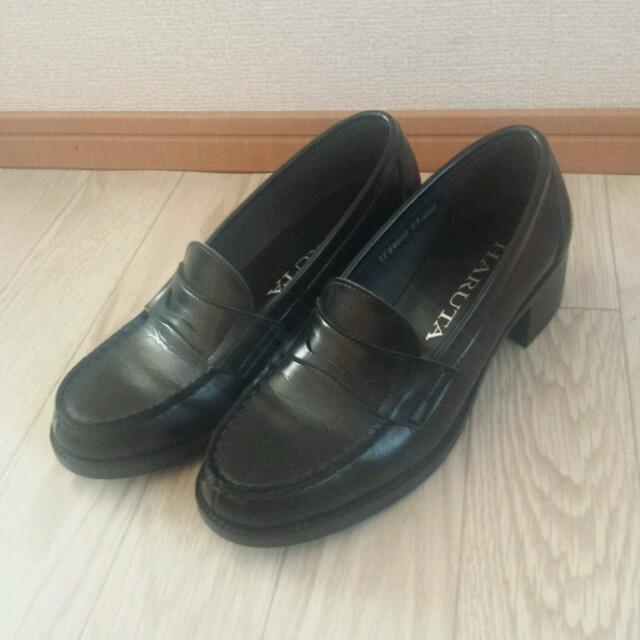 f12f29080df578 HARUTAハルタ ローファー 23cmEEE 黒ヒールアップ 学生靴 通学JK レディースの靴/シューズ