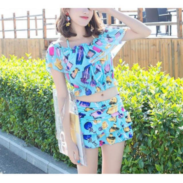 【新作】可愛い水着 3点セット ブルー レディースの水着/浴衣(水着)の商品写真