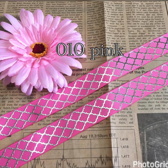 完売010 ピンク シルバー箔 ダイヤ柄 リボン グログラン ひなっぴーリボン ハンドメイドの素材/材料(各種パーツ)の商品写真