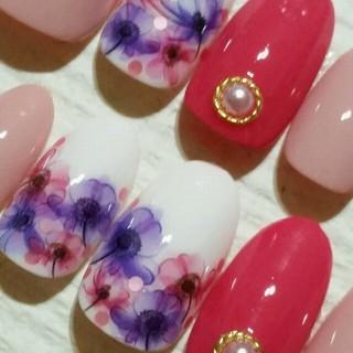 ピンク×スモーキーレッド×ピンク&パープルflower
