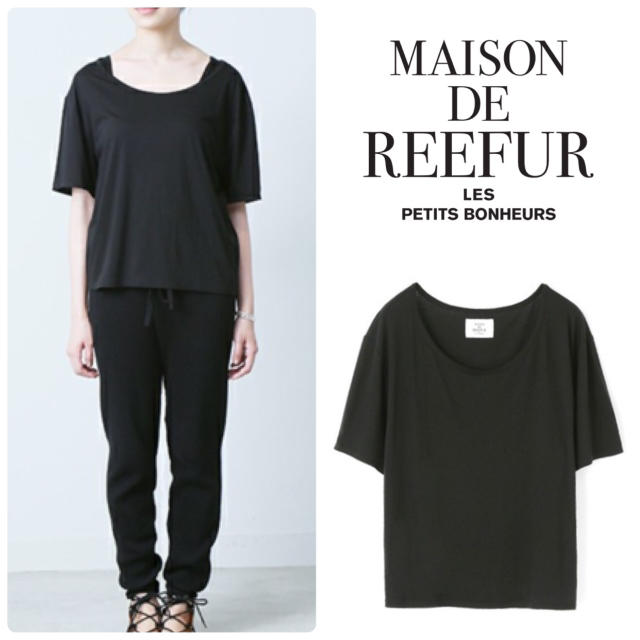 Maison de Reefur(メゾンドリーファー)の【美品】マイクロモダールコットンシルクワイドTシャツ 黒 カットソー レディースのトップス(カットソー(半袖/袖なし))の商品写真