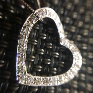 女子力アップ♪オープンハート型のダイヤモンド0.20ct K18WGネックレス(ネックレス)
