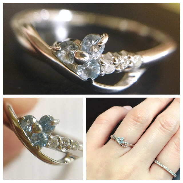 kumikyoku(組曲)(クミキョク)の【組曲 KUMIKYOKU】アクアマリン&ダイヤモンドK10WGリング フラワー レディースのアクセサリー(リング(指輪))の商品写真