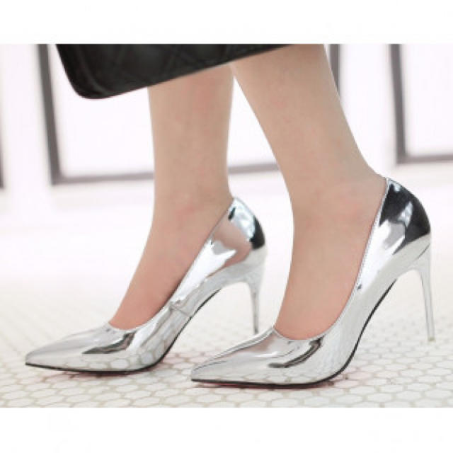 【新作】ハイヒール パンプス シルバー レディースの靴/シューズ(ハイヒール/パンプス)の商品写真
