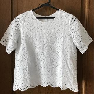 ジーユー(GU)のGU Tブラウス スカラップレース ホワイトL(シャツ/ブラウス(半袖/袖なし))