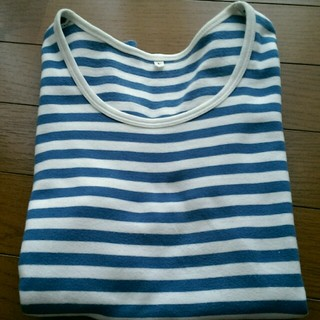ムジルシリョウヒン(MUJI (無印良品))の白×水色 ボーダーT(Tシャツ(半袖/袖なし))