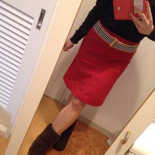 バーバリー(BURBERRY)のバーバリー♡レッドペンシルスカート(ひざ丈スカート)