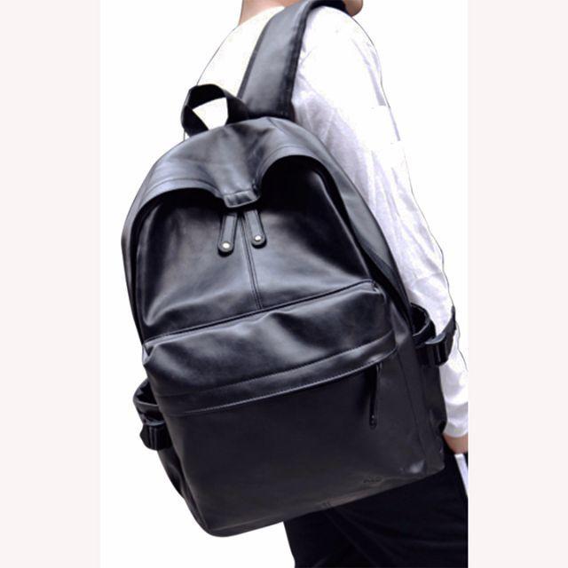 b81e6fc5dc86 メンズ レザー リュック バックパック 黒 お洒落 人気 L 兼用 B005b メンズのバッグ(バッグ