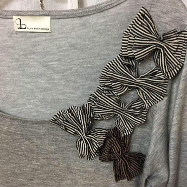 LUCA(ルカ)の5分〜7分袖リボンカットソー  LOWRYS FARM/ROPE好きな方にも♡ レディースのトップス(Tシャツ(長袖/七分))の商品写真