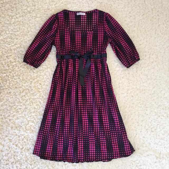 ドット柄 五分袖 ワンピース ピンク レディースのワンピース(ミニワンピース)の商品写真