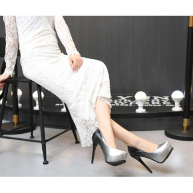 【春の新作】ハイヒール パンプス 美脚効果 上品 パープル  レディースの靴/シューズ(ハイヒール/パンプス)の商品写真