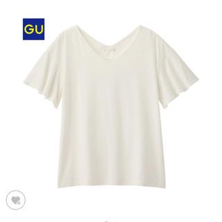 ジーユー(GU)のGU フリルスリーブVネックT ホワイト(シャツ/ブラウス(半袖/袖なし))
