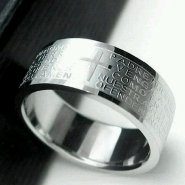 ❤500円アクセ❗プレゼントにも❗❗クロスリング⭐チェーンネックレス付き メンズのアクセサリー(リング(指輪))の商品写真