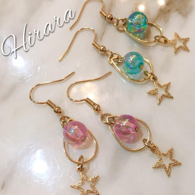 【送料無料】涼しげなクリアブルーピンクピアス♡ ハンドメイドのアクセサリー(ピアス)の商品写真