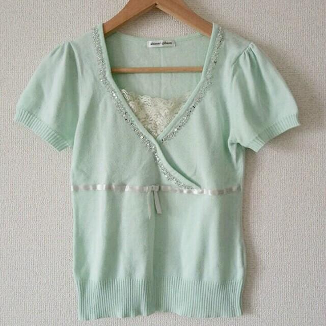 半袖ニット グリーン M レディースのトップス(ニット/セーター)の商品写真