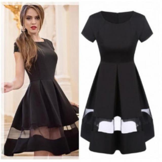 L 半袖 ドレス 春夏ワンピース シフォン スカート 切り替え 透け感 黒 レディースのフォーマル/ドレス(ミディアムドレス)の商品写真