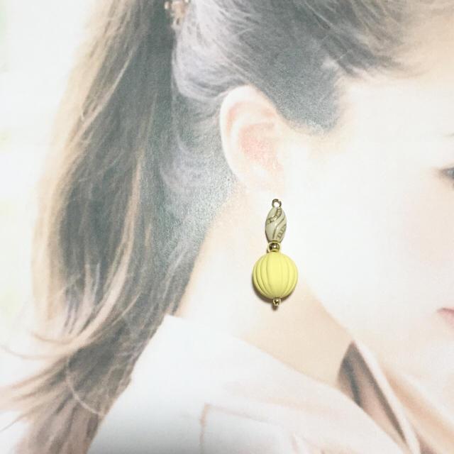 大人アンティーク♡イエロー ハンドメイドのアクセサリー(ピアス)の商品写真