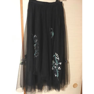フレイアイディー(FRAY I.D)のFRAY I.D 刺繍チュールスカート(ロングスカート)