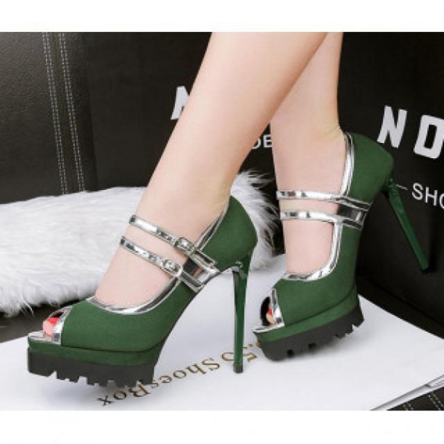 【新作】ハイヒール パンプス 高級感 パーティー グリーン レディースの靴/シューズ(ハイヒール/パンプス)の商品写真