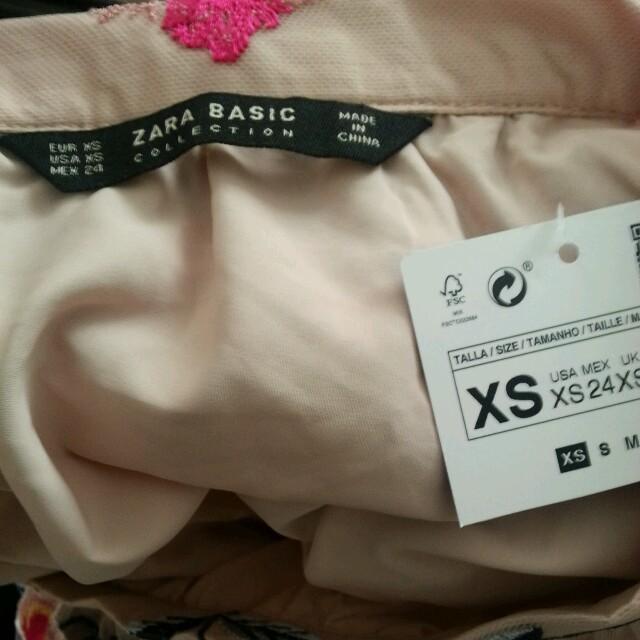 ZARA(ザラ)のZARA 正規品 花柄 刺繍 スカート XS タグ付き  レディースのスカート(ひざ丈スカート)の商品写真