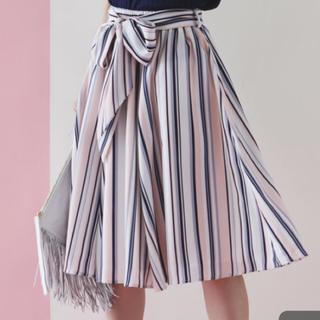 トッコ(tocco)のレトロ可愛いいマルチストライプウエストリボンスカート♡(ひざ丈スカート)