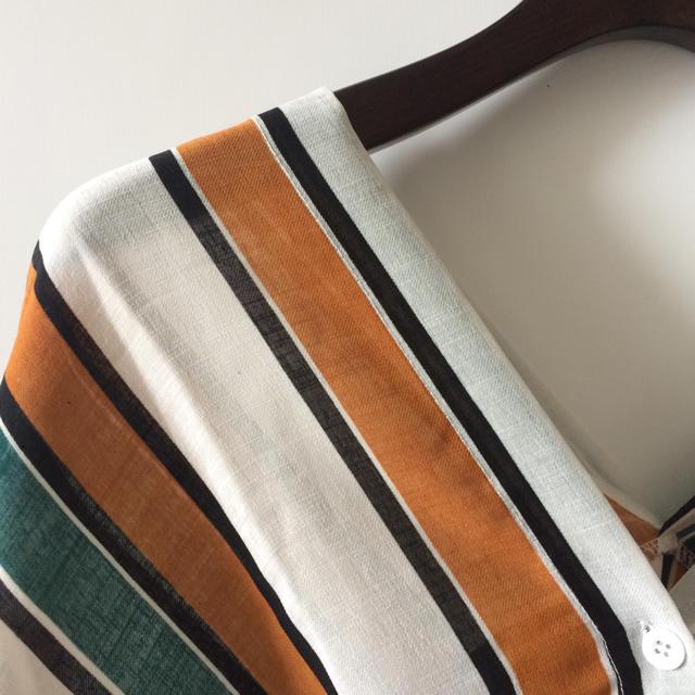 【ローズバット BEMS 系】カラーストライプ襟抜きブラウス レディースのトップス(シャツ/ブラウス(長袖/七分))の商品写真