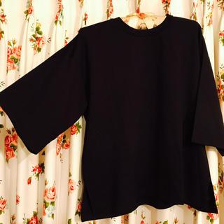 ジーユー(GU)の【GU】七分袖トップス ブラック(Tシャツ(長袖/七分))