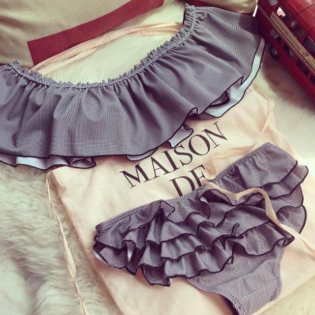 売れ筋 新作オフショル 水着 ビキニ レディース グレー ベビーピンク レディースの水着/浴衣(水着)の商品写真