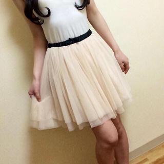 送料込♡シフォンスカートホワイト(ひざ丈スカート)