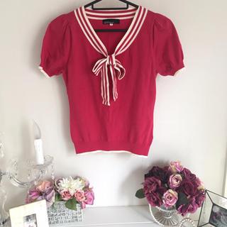 クリアインプレッション(CLEAR IMPRESSION)のクリアインプレッション ピンク半袖 ボウタイ (カットソー(半袖/袖なし))