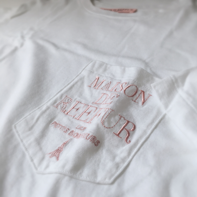 Maison de Reefur(メゾンドリーファー)のメゾンドリーファー ロゴ刺繍入りTシャツ 半袖 ロゴTシャツ 白 レディースのトップス(Tシャツ(半袖/袖なし))の商品写真