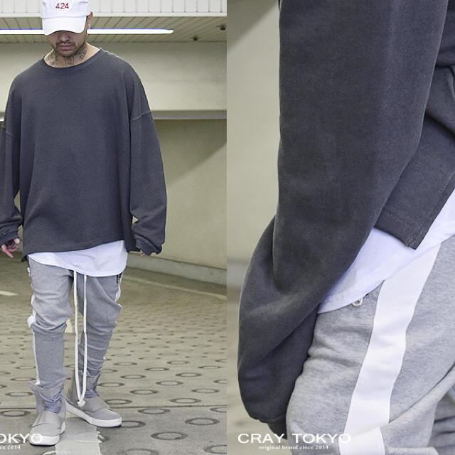 ドロップショルダーオーバーサイズサイドスリットスウェットトレーナーグレー メンズのトップス(スウェット)の商品写真