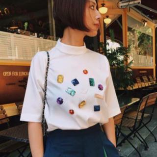 アメリヴィンテージ(Ameri VINTAGE)のAmeri vintage * many bijou high neck top(Tシャツ(半袖/袖なし))
