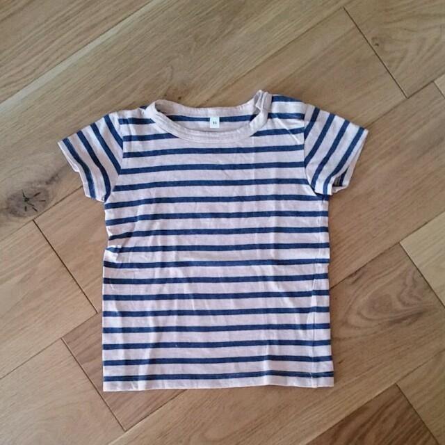 MUJI (無印良品)(ムジルシリョウヒン)の無印良品 キッズ Tシャツ ボーダー 無印  キッズ/ベビー/マタニティのキッズ服 女の子用(90cm~)(Tシャツ/カットソー)の商品写真