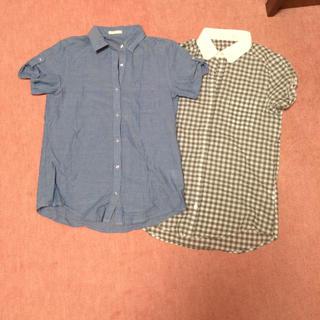 ジーユー(GU)のタンガリーシャツ&ギンガムチェックシャツ(シャツ/ブラウス(半袖/袖なし))