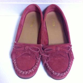 ランダ(RANDA)の本革スエードフリンジモカシン(ローファー/革靴)