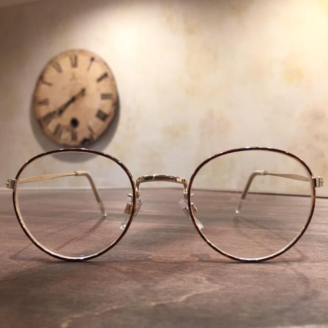 【新品】ボストン 華奢フレーム 伊達めがね デミ×ゴールド レディースのファッション小物(サングラス/メガネ)の商品写真