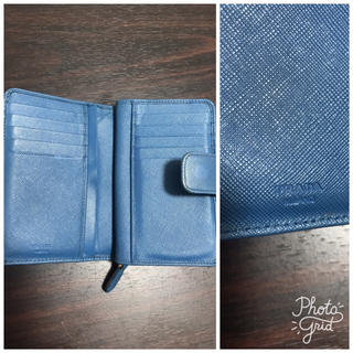 PRADA(プラダ)の格安‼️正規品★PRADA★プラダ二つ折り財布ブルー青★ウォレット レディースのファッション小物(財布)の商品写真