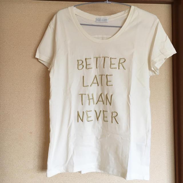 E hyphen world gallery(イーハイフンワールドギャラリー)の新品 試着のみ イーハイ 刺繍ゴールド Tシャツ レディースのトップス(Tシャツ(半袖/袖なし))の商品写真
