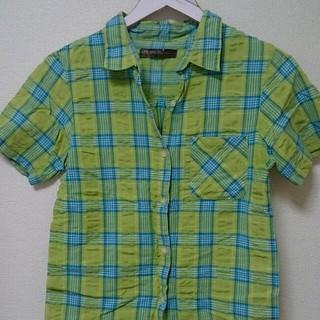 グリーン ブルー チェック 半袖シャツ(シャツ/ブラウス(半袖/袖なし))