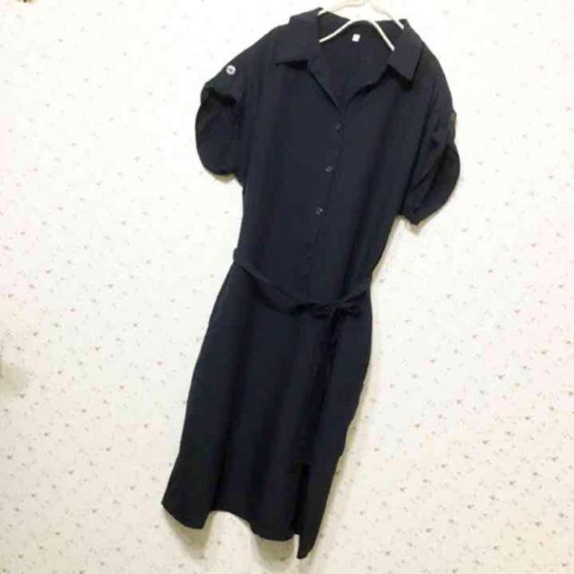 MUJI (無印良品)(ムジルシリョウヒン)の無印良品 テンセル ワンピース ワンピ ネイビー S 36 シャツワンピ 紺 夏 レディースのワンピース(ひざ丈ワンピース)の商品写真