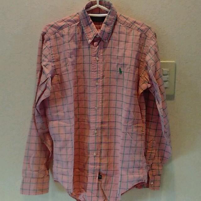 ラルフローレン 刺繍 Yシャツ ピンク レディースのトップス(シャツ/ブラウス(長袖/七分))の商品写真