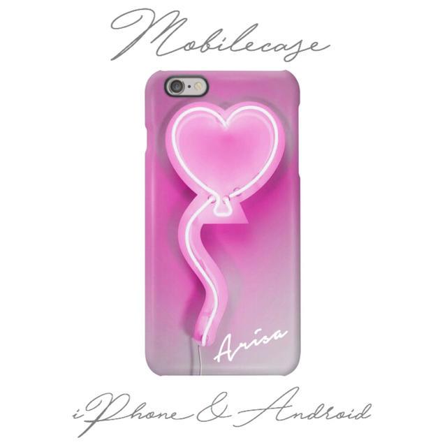 名入れ可能♡ネオンハート柄スマホケース♡iPhone以外も対応機種多数あり♡の通販 by welina mahalo|ラクマ