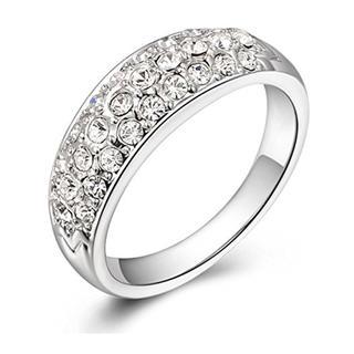 18Kホワイトメッキ CZジルコニア 人気 リング 結婚指輪 (10)(リング(指輪))