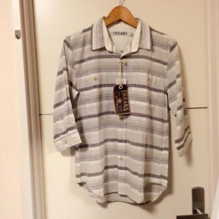 キャラジャ(CALAJA)の新品!グレー麻混ボーダー☆七分袖シャツ(シャツ)