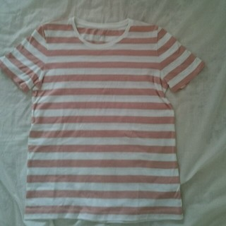 ムジルシリョウヒン(MUJI (無印良品))の無印 ボーダーTシャツ ピンク(Tシャツ(半袖/袖なし))