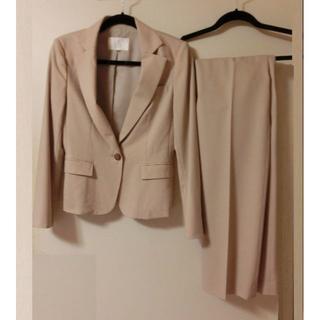 ナチュラルビューティーベーシック(NATURAL BEAUTY BASIC)のナチュラルビューディーベーシック ベージュストライプ  パンツスーツ セット M(スーツ)