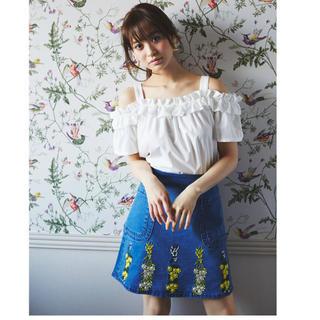 トッコ(tocco)のtocco フラワー刺繍デニムミニスカート ブルー(ミニスカート)