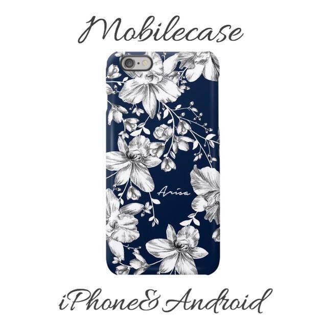 モスキーノ iPhone8 ケース 革製 | 名入れ可能♡ネイビーフラワー柄スマホケース♡iPhone以外も対応機種多数あり♡の通販 by welina mahalo|ラクマ