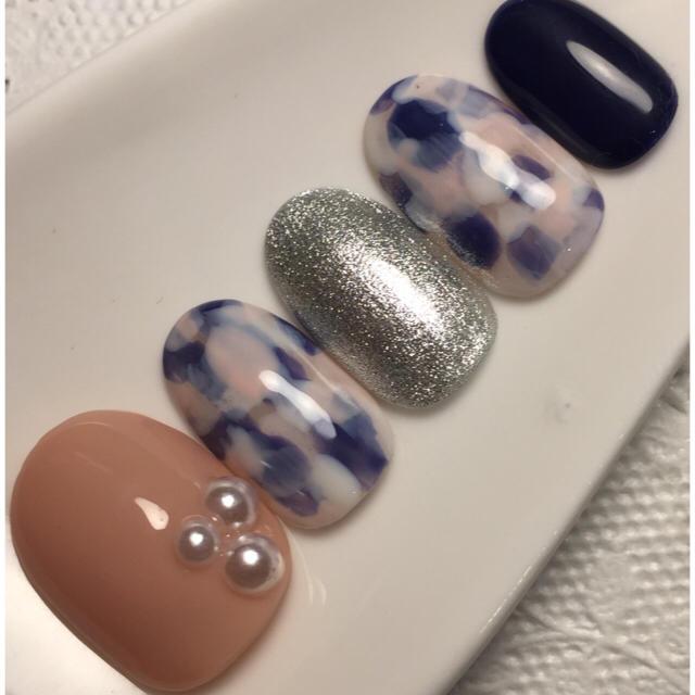 ネイルチップ【ピンク♡塗りかけネイル】 ハンドメイドのアクセサリー(ネイルチップ)の商品写真